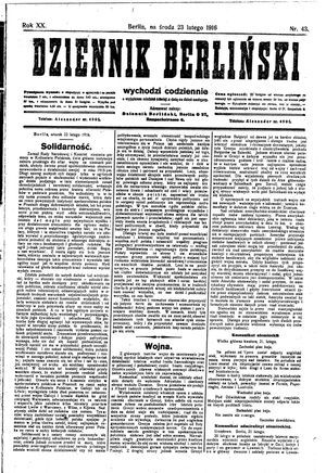 Dziennik Berliński on Feb 23, 1916
