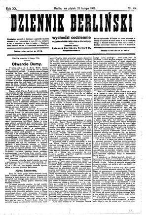 Dziennik Berliński vom 25.02.1916