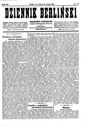 Dziennik Berliński vom 26.02.1916