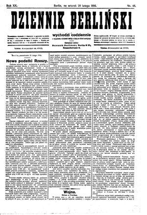 Dziennik Berliński vom 29.02.1916