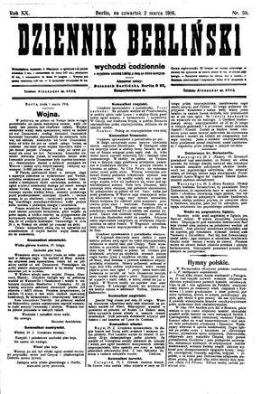 Dziennik Berliński vom 02.03.1916
