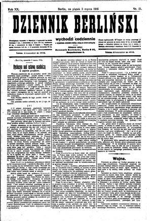Dziennik Berliński vom 03.03.1916