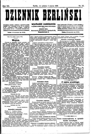 Dziennik Berliński vom 04.03.1916