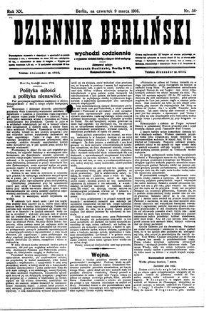 Dziennik Berliński vom 09.03.1916