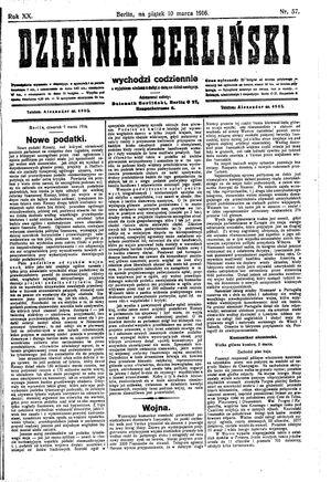 Dziennik Berliński vom 10.03.1916
