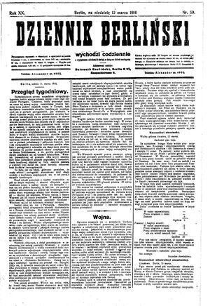 Dziennik Berliński vom 12.03.1916