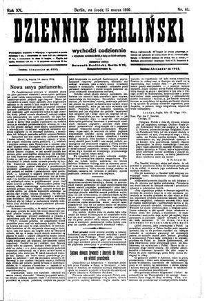 Dziennik Berliński vom 15.03.1916