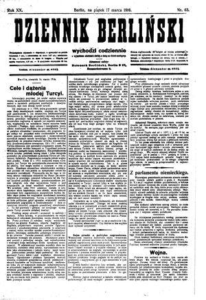 Dziennik Berliński vom 17.03.1916