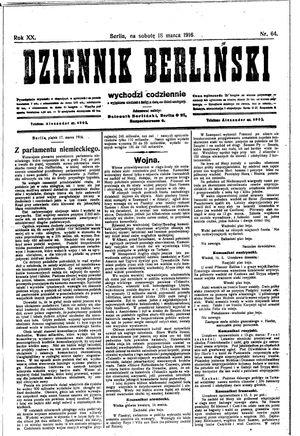 Dziennik Berliński vom 18.03.1916