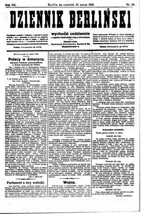 Dziennik Berliński vom 23.03.1916