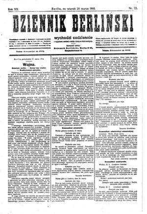 Dziennik Berliński vom 28.03.1916