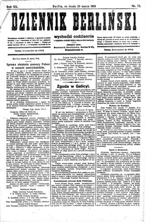 Dziennik Berliński vom 29.03.1916