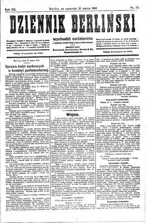 Dziennik Berliński vom 30.03.1916