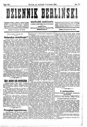 Dziennik Berliński vom 02.04.1916
