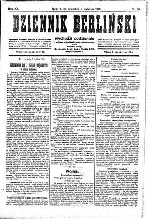 Dziennik Berliński vom 06.04.1916