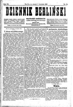 Dziennik Berliński vom 11.04.1916