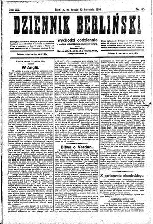 Dziennik Berliński vom 12.04.1916
