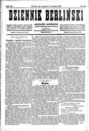 Dziennik Berliński vom 13.04.1916