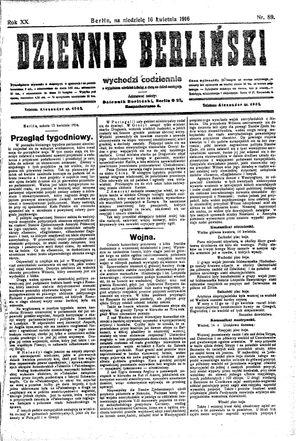 Dziennik Berliński vom 16.04.1916