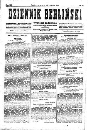 Dziennik Berliński on Apr 18, 1916