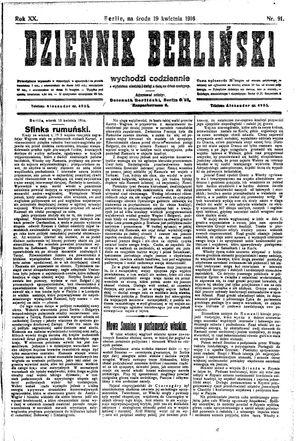 Dziennik Berliński vom 19.04.1916