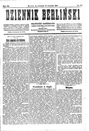 Dziennik Berliński vom 20.04.1916