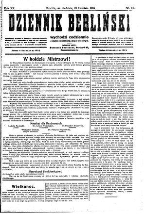 Dziennik Berliński vom 23.04.1916