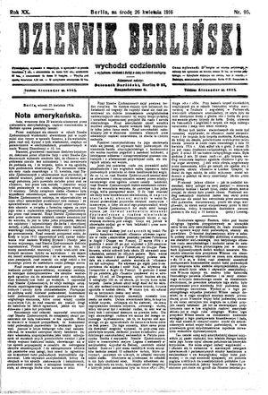 Dziennik Berliński vom 26.04.1916
