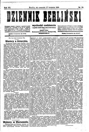 Dziennik Berliński vom 27.04.1916