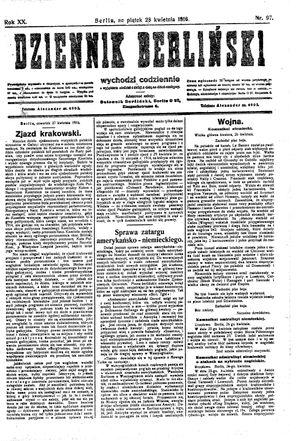 Dziennik Berliński vom 28.04.1916