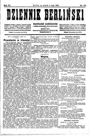 Dziennik Berliński vom 02.05.1916