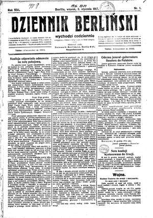 Dziennik Berliński vom 02.01.1917