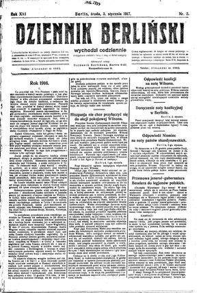 Dziennik Berliński on Jan 3, 1917