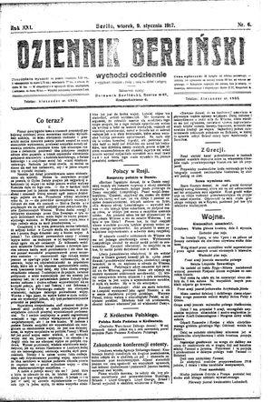 Dziennik Berliński vom 09.01.1917