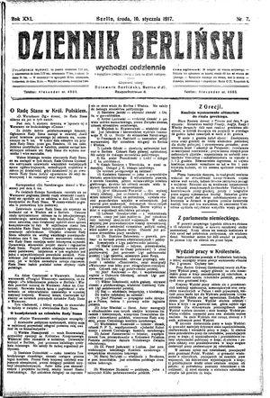 Dziennik Berliński vom 10.01.1917