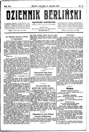 Dziennik Berliński vom 11.01.1917