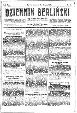 Dziennik Berliński vom 17.01.1917
