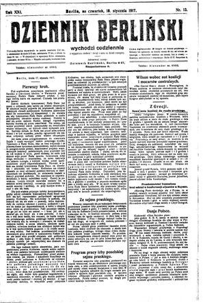 Dziennik Berliński vom 18.01.1917