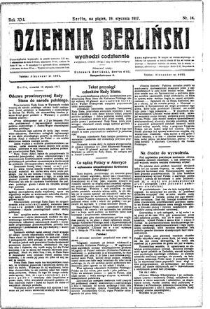 Dziennik Berliński on Jan 19, 1917