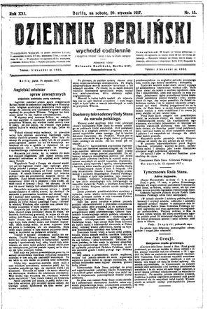 Dziennik Berliński vom 20.01.1917