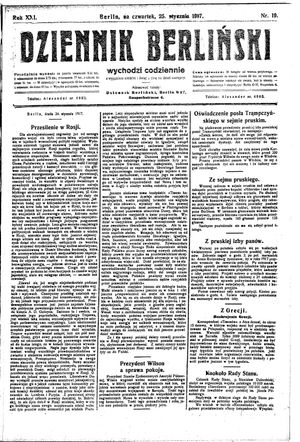 Dziennik Berliński vom 25.01.1917