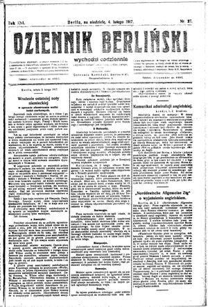 Dziennik Berliński vom 04.02.1917