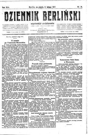 Dziennik Berliński vom 09.02.1917