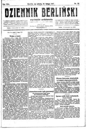 Dziennik Berliński vom 10.02.1917