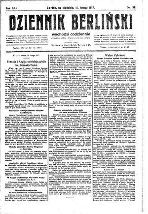Dziennik Berliński vom 11.02.1917