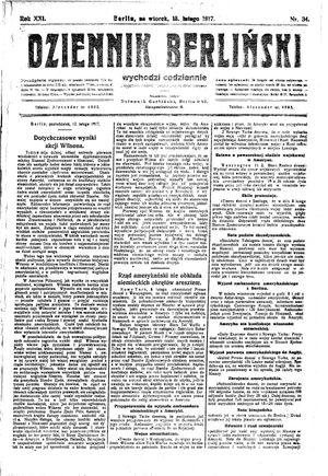 Dziennik Berliński vom 13.02.1917
