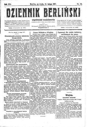 Dziennik Berliński vom 14.02.1917