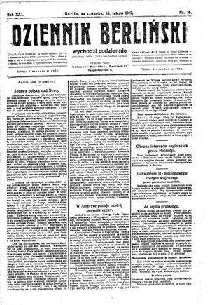 Dziennik Berliński vom 15.02.1917
