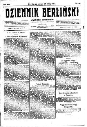 Dziennik Berliński vom 20.02.1917