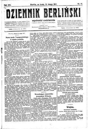Dziennik Berliński vom 21.02.1917